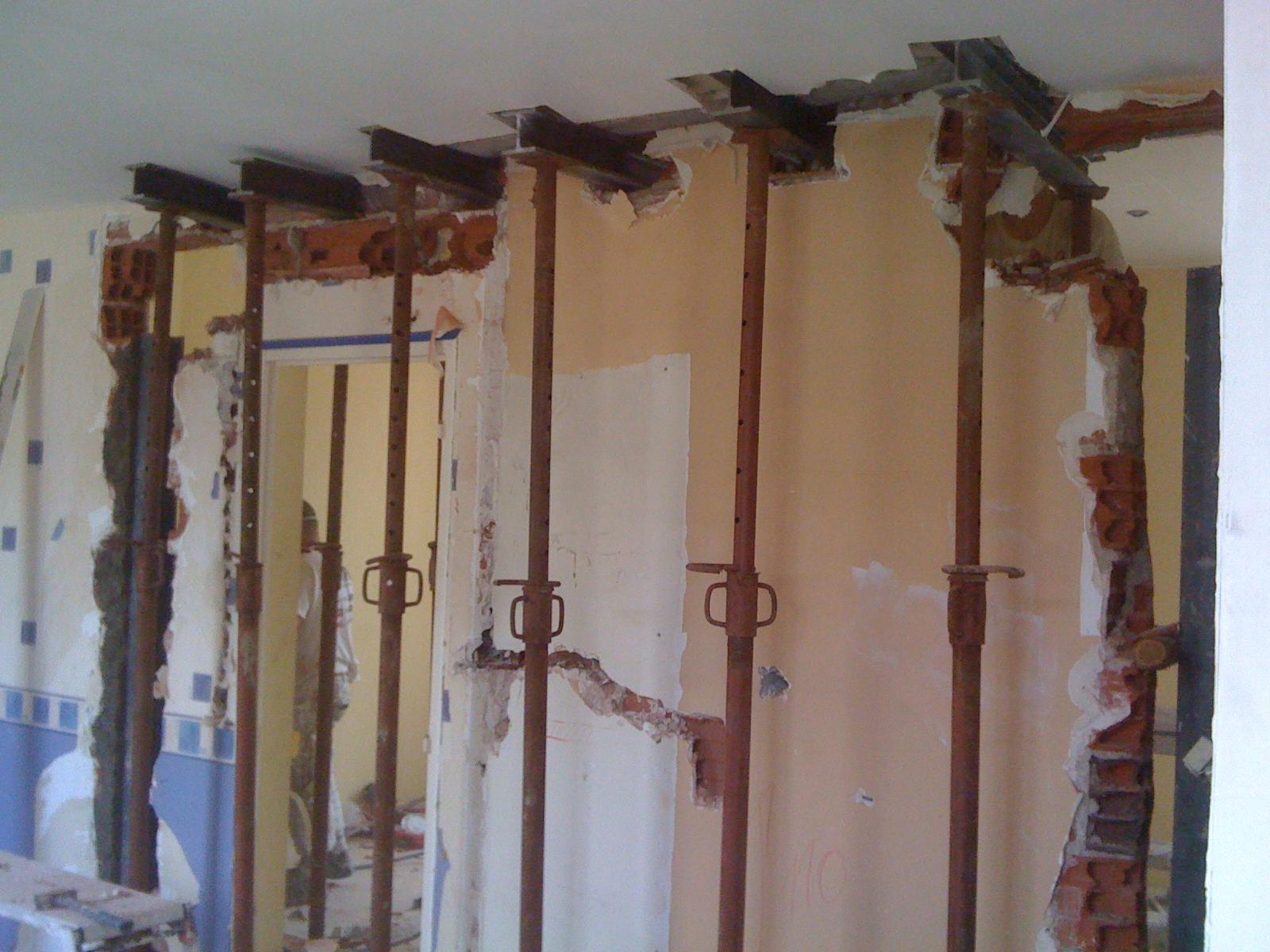 Ouverture mur porteur ou mur de refend par chevalement 2 le mur porteur - Creer une ouverture dans un mur en parpaing ...